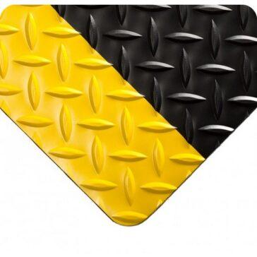 Diamond Plate Floor Runner Black-Yellow Border