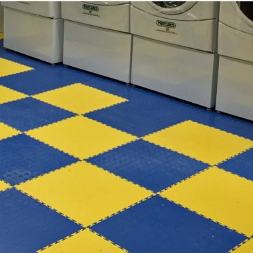 Locktile interlock flooring for laundry areas